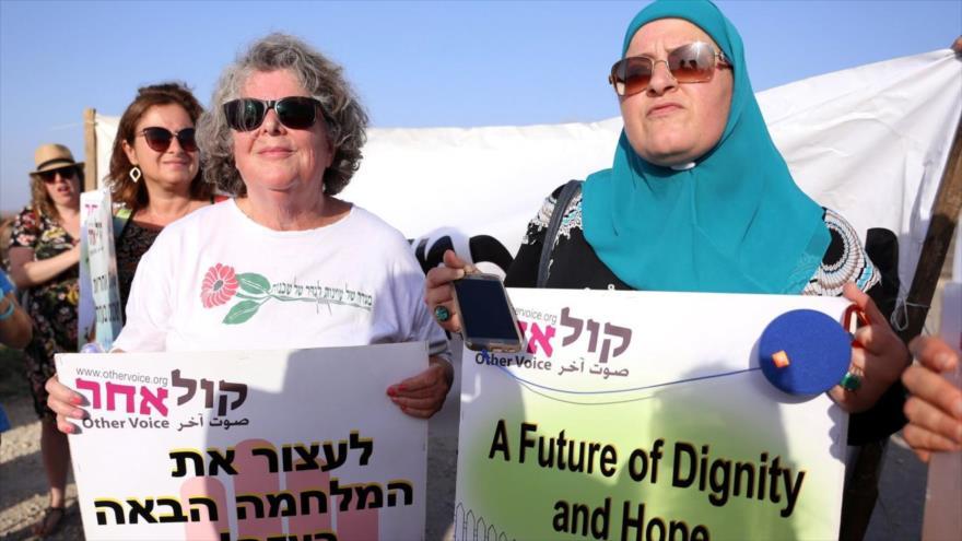 Mujeres israelíes marchan en solidaridad con mujeres palestinas en Gaza, 3 de julio de 2018.
