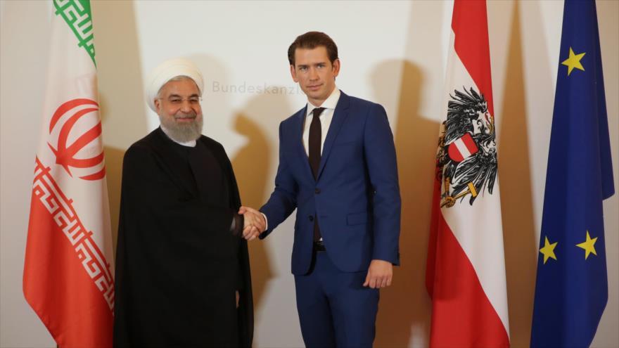 El presidente de Irán, Hasan Rohani, y el canciller austriaco, Sebastian Kurz, en Viena (capital austriaca), 4 de julio de 2018.