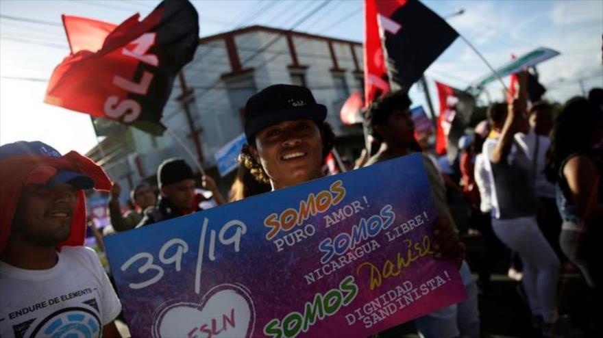 Simpatizantes del presidente Daniel Ortega se movilizan en Managua, capital de Nicaragua, 4 de julio de 2018.