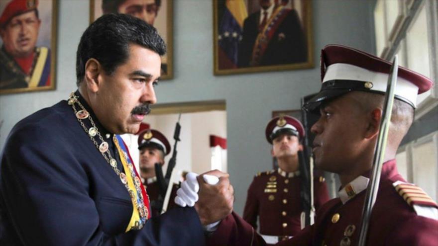 El presidente venezolano, Nicolás Maduro, durante el acto de ascenso de los oficiales de la Fuerza Armada Nacional Bolivariana, 4 de julio de 2018.