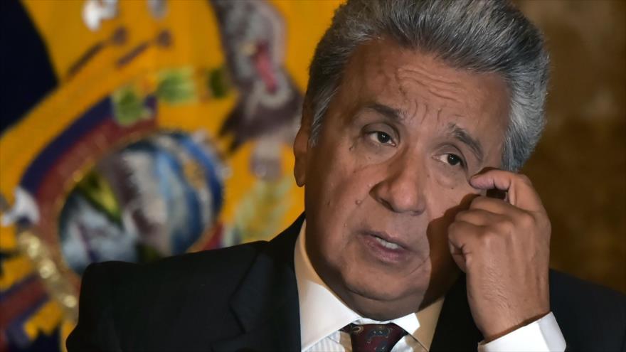 El presidente de Ecuador, Lenín Moreno, ante la prensa en Quito, 5 de julio de 2018.