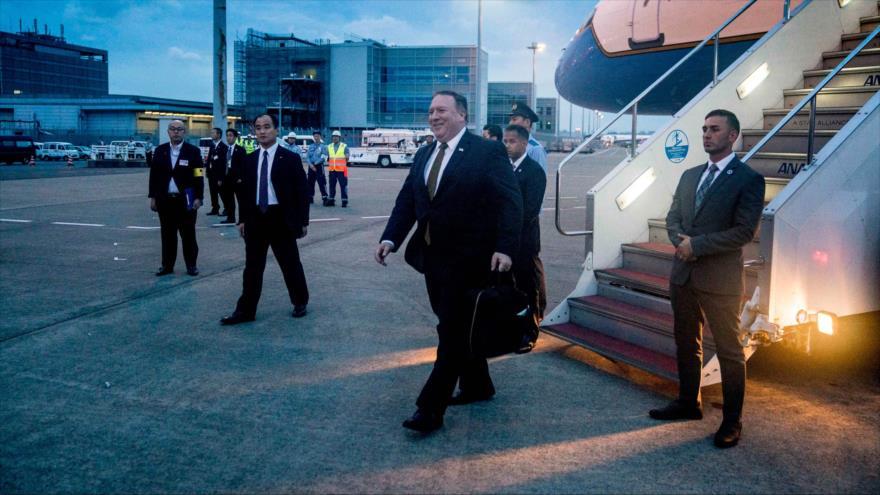 El secretario de Estado de EE.UU., Mike Pompeo, llega a Pyongyang, la capital de Corea del Norte, 7 de julio de 2018.