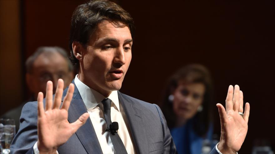 El Primer ministro canadiense, Justin Trudeau, durante un almuerzo en el Club Económico de Nueva York, 17 de mayo de 2018.