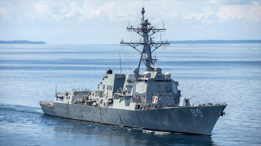 El destructor de misiles guiados USS Mustin de la Armada de EE.UU.