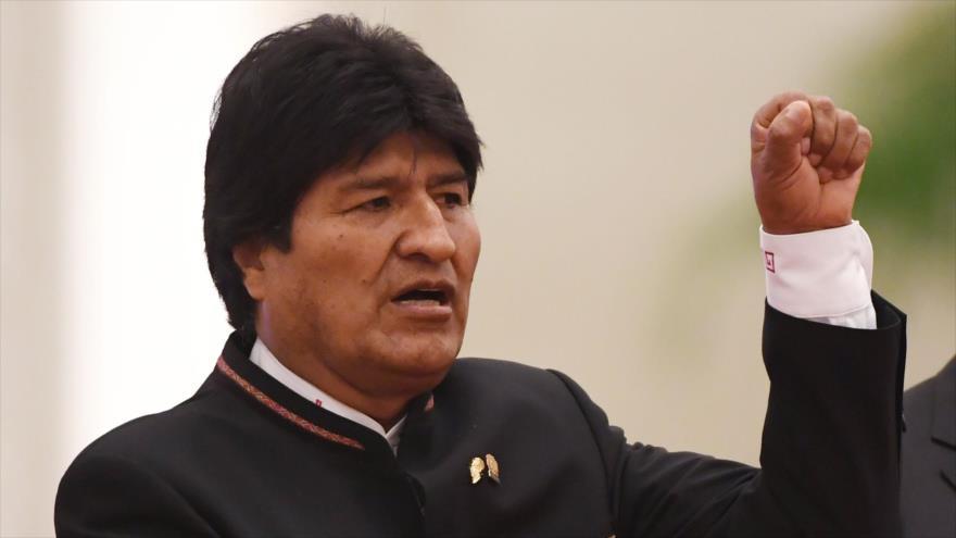 El presidente de Bolivia, Evo Morales, en una ceremonia en Pekín (capital china), 19 de junio de 2018.