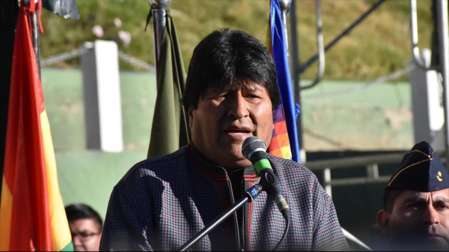 El presidente de Bolivia, Evo Morales, da un discurso en La Paz, la capital, 8 de julio de 2018.