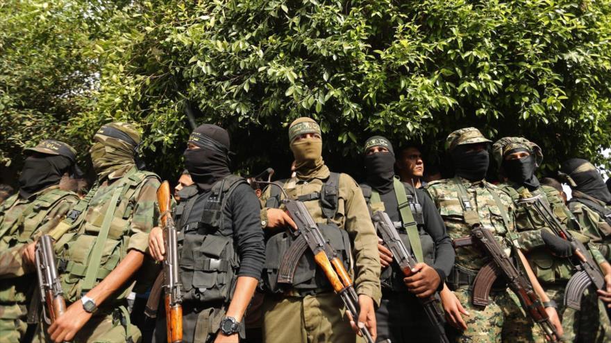 Integrantes de la rama armada del Movimiento de Resistencia Islámica de Palestina (HAMAS) en Gaza.