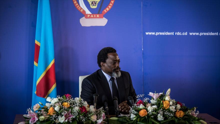 El presidente de la República Democrática del Congo, Joseph Kabila, en una rueda de prensa en Kinshasa (capital), 26 de enero de 2018.