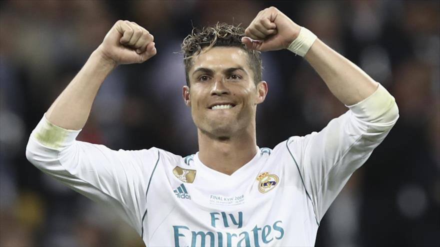 Cristiano ronaldo, delantero portugués de Real Madrid, en un partido con Liverpool en Ucrania, 26 de mayo de 2018.