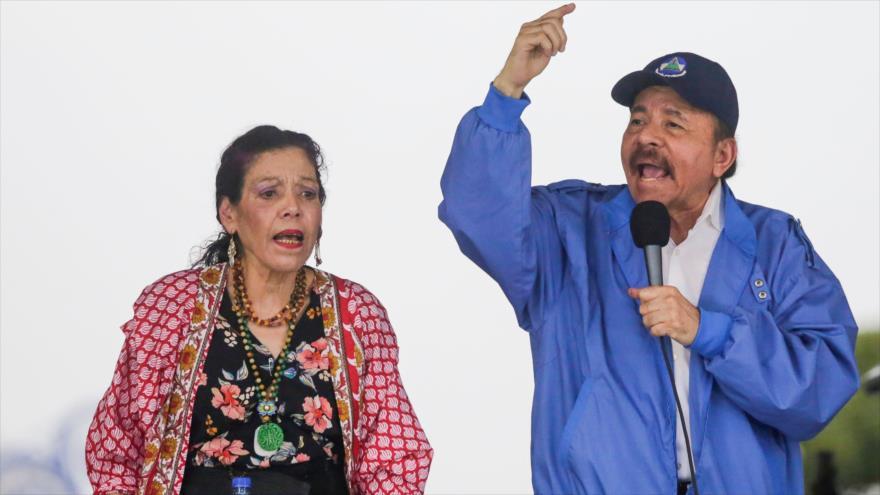 El presidente y la vicepresidenta de Nicaragua, Daniel Ortega y Rosario Murillo, en Managua (capital), 7 de julio de 2018.