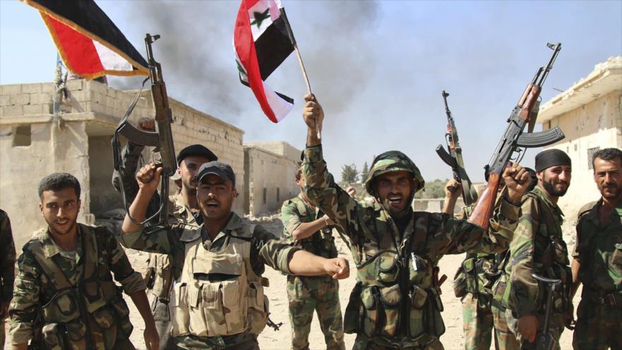 Soldados del Ejército Árabe Sirio (SAA, por sus siglas en inglés).