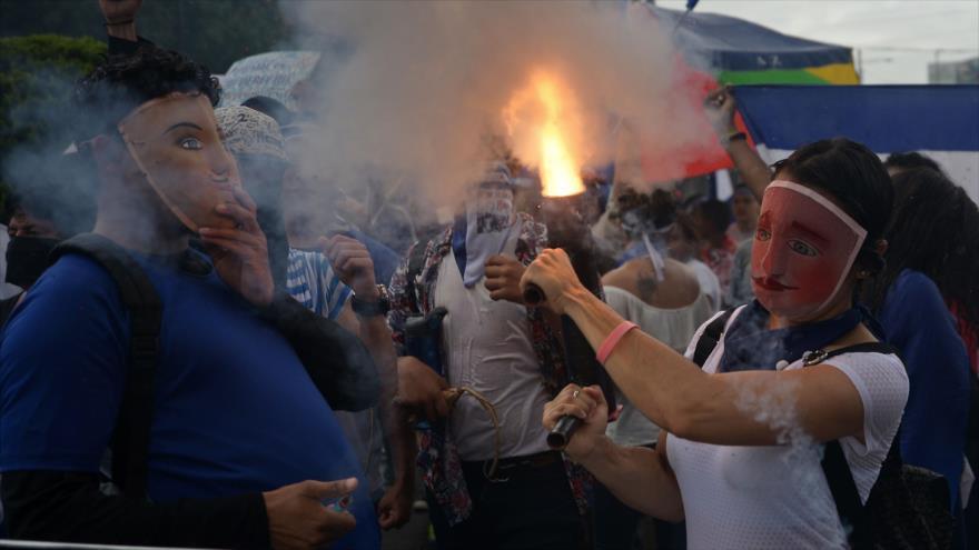 Opositores nicaragüenses se manifiestan contra el Gobierno de Daniel Ortega, Managua, 12 de julio de 2018.