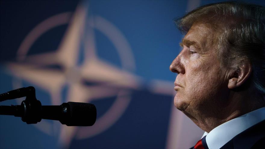 El presidente de EE.UU., Donald Trump, durante una rueda de prensa en Bruselas, Bélgica, 12 de julio de 2018.