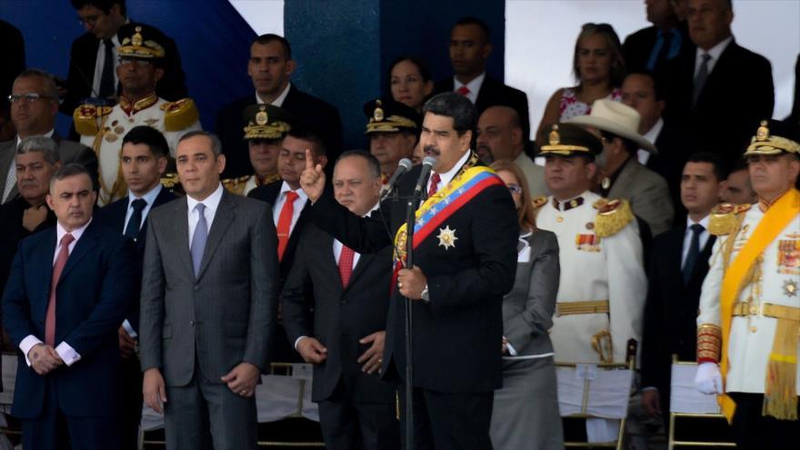 El presidente de Venezuela, Nicolás Maduro, ofrece un discurso en el 207.º aniversario de la Independencia del país, Caracas, 5 de julio de 2018.