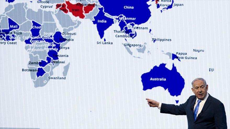 El premier israelí, Benjamín Netanyahu, ofrece discurso ante el lobby AIPAC, EE.UU., 6 de marzo de 2018.