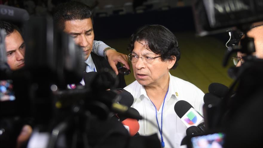 El canciller de Nicaragua, Denis Moncada, durante una conferencia de prensa en Managua, capital nicaragüense, 15 de junio de 2018.