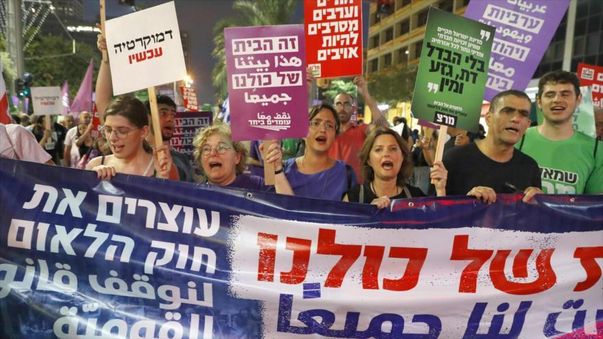 Israelíes protestan contra proyecto de ley a favor de un 'estado judío'