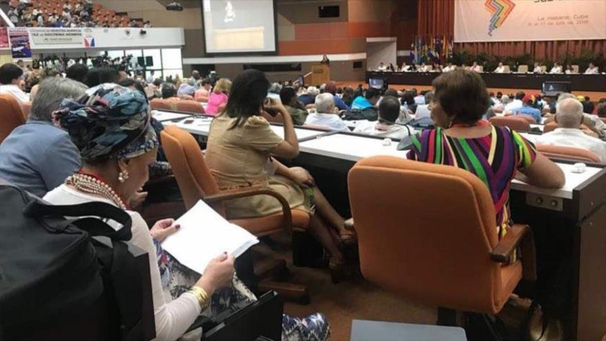 El XXIV Foro de Sao Paulo, celebrado en La Habana, capital de Cuba, 16 de julio de 2018.