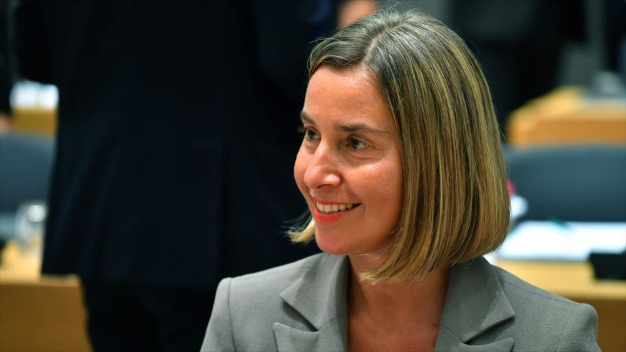 La jefa de la Política Exterior de la Unión Europea, Federica Mogherini, en una sesión del Consejo de Asuntos Exteriores del ente, 16 de julio de 2018.