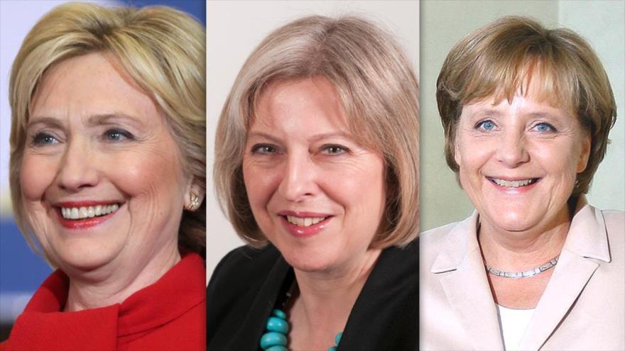 De izq. a dcha.: La excandidata de EE.UU. Hillary Clinton, la primera ministra británica, Theresa May, y la canciller alemana, Angela Merkel.