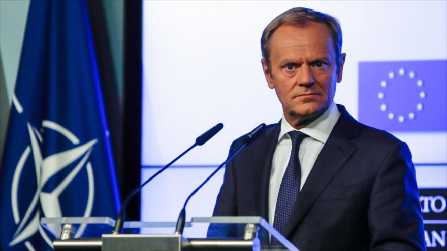 El presidente del Consejo Europeo, Donald Tusk, da una rueda de prensa en Bruselas, la capital belga,10 de julio de 2018.