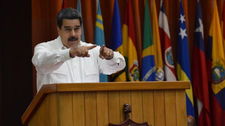 El presidente de Venezuela, durante su presencia ante el plenario del Foro de Sao Paulo, La Habana, Cuba, 17 de julio de 2018.