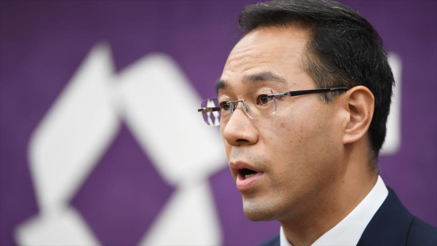 El portavoz del Ministerio chino de Comercio, Gao Feng, habla durante una rueda de prensa en Pekín, la capital china, 5 de julio de 2018.