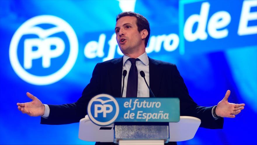 Pablo Casado, el nuevo presidente del Partido Popular (PP) de España, durante un discurso en Madrid, 21 de julio de 2018.