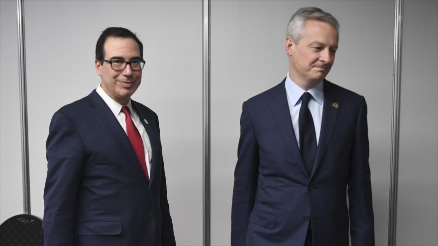 El secretario del Tesoro de EE.UU., Steven Mnuchin, junto al ministro de Finanzas francés, Bruno Le Maire, en Buenos Aires, 21 de julio de 2018.