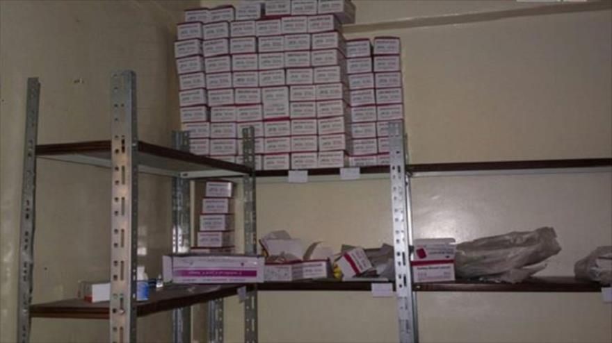 Medicamentos hallados en un hospital de grupos extremistas en la localidad siria de Naba al-Sakher, 23 de julio de 2018.