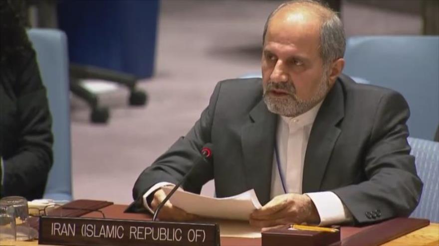 El embajador adjunto de Irán ante la ONU, Eshaq AlHabib, en una reunión del Consejo de Seguridad de las Naciones Unidas (CSNU).