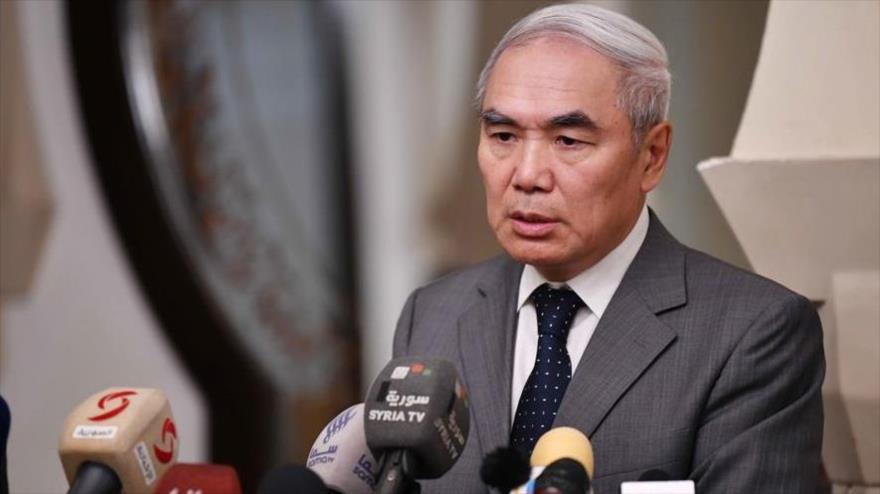 El enviado especial de China para Siria, Xie Xiaoyan, en una conferencia de prensa en Damasco, capital siria, 26 de julio de 2018.