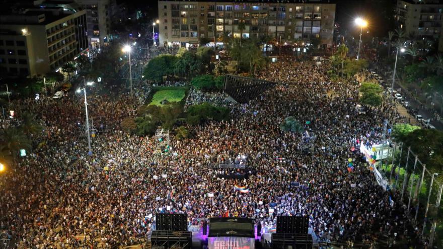 """Protesta en contra de la ley """"estado-nación judío"""" en Israel, Tel Aviv, 22 de julio de 2018."""