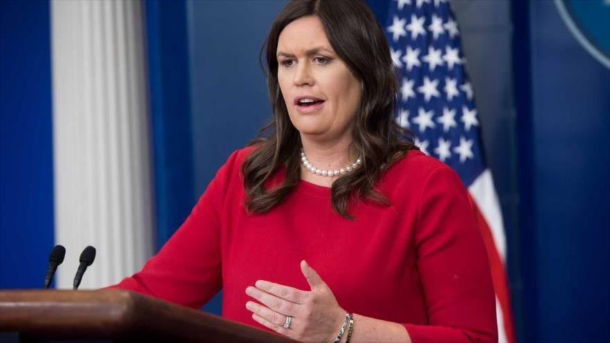 La portavoz de la Casa Blanca, Sarah Sanders, en una rueda de prensa en Washington.