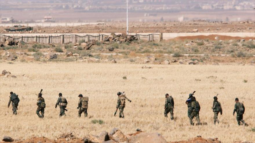 Soldados sirios en la provincia de Daraa, cerca de la frontera con Jordania, 7 de julio de 2018.