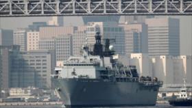 Nave anfibio británica llega a Japón para maniobras militares