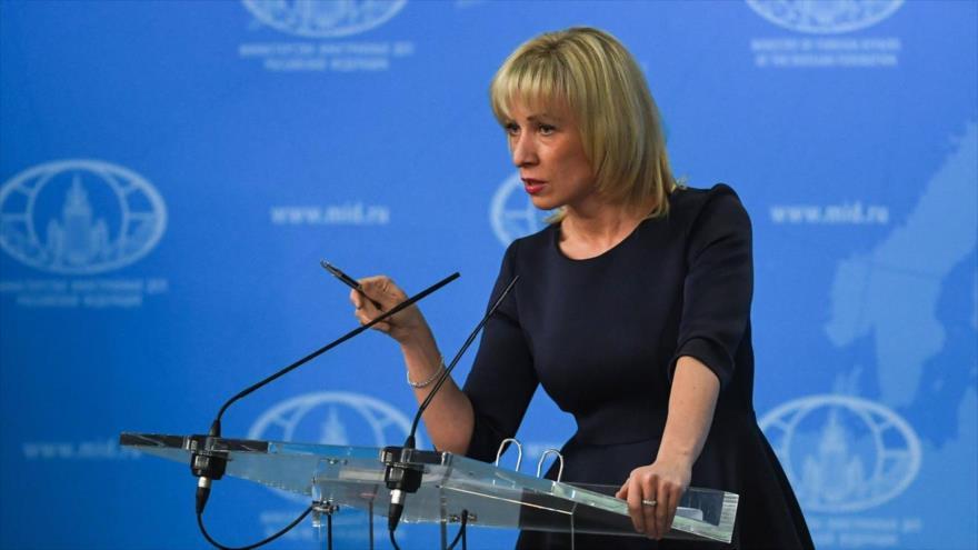La portavoz de la Cancillería rusa, María Zajarova, en una rueda de prensa en Moscú (capital).