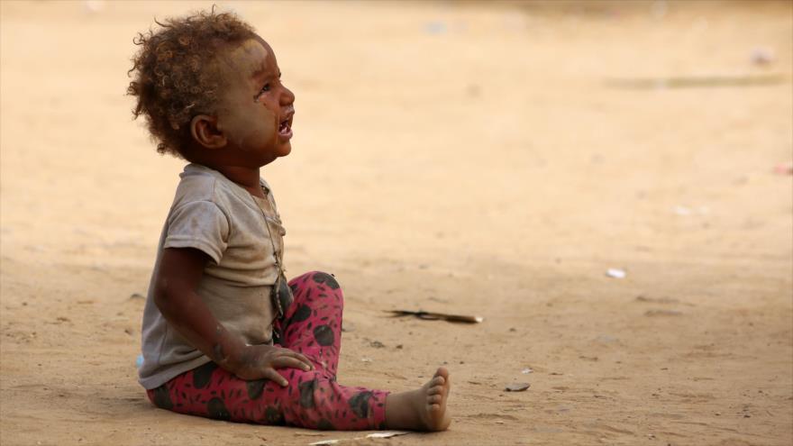 Un niño yemení desplazado en un campamento en la provincia noroccidental yemení de Hajjah, 12 de mayo de 2018, Fuente: AFP