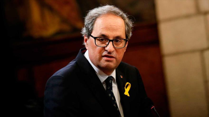 Joaquim 'Quim' Torra, el día de su toma de posesión como presidente autonómico de Cataluña (noreste de España), 2 de junio de 2018 (Foto: RTVE).