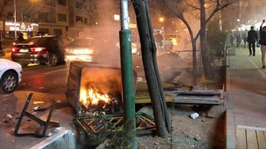 ِDaños a propiedades públicas en los disturbios realizados en enero de 2018 en Teherán (capital iraní).