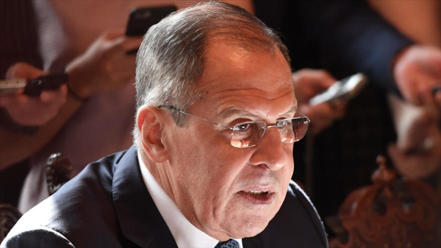 El canciller de Rusia, Serguei Lavrov, durante una reunión en Moscú, capital rusa, 31 de julio de 2018. Foto: AFP