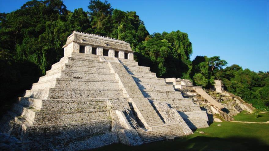 El Templo de las Inscripciones o Templo I, construido por la civilización maya en Palenque, sur de México.