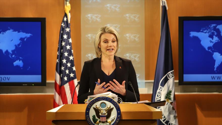 Heather Nauert, la portavoz del Departamento de Estado de EE.UU., durante una rueda de prensa, 30 de noviembre de 2017. (Foto: AFP)