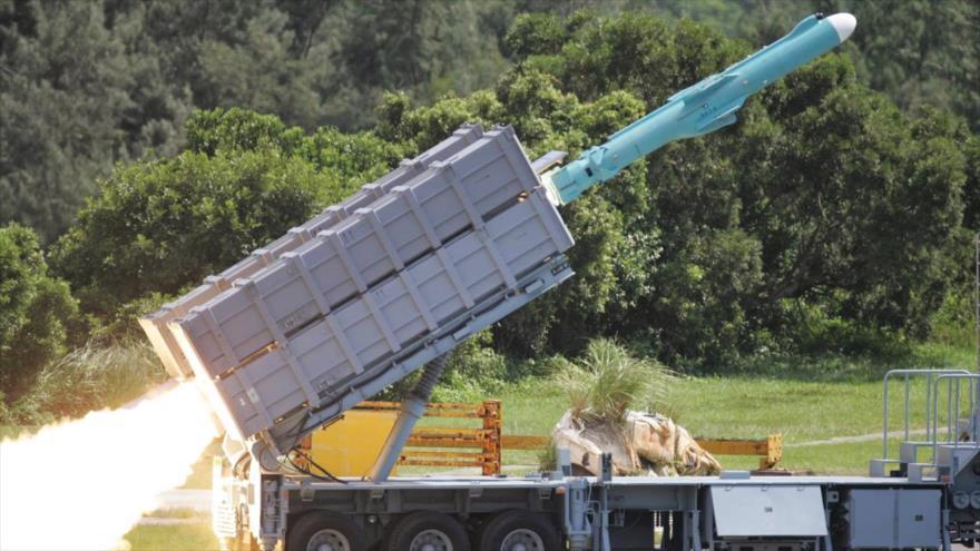 Un misil de crucero tierra-tierra Hsiung Feng IIE (HF-2E), de producción taiwanesa.