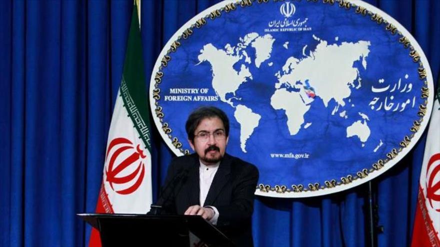 Bahram Qasemi, portavoz del Ministerio de Asuntos Exteriores de Irán, durante una rueda de prensa en Teherán, capital persa.