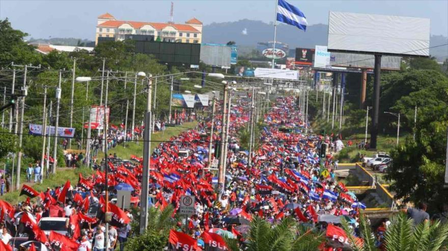 Una gran marcha del pueblo nicaragüense en respaldo al presidente Daniel Ortega, Managua, 11 de agosto de 2018.