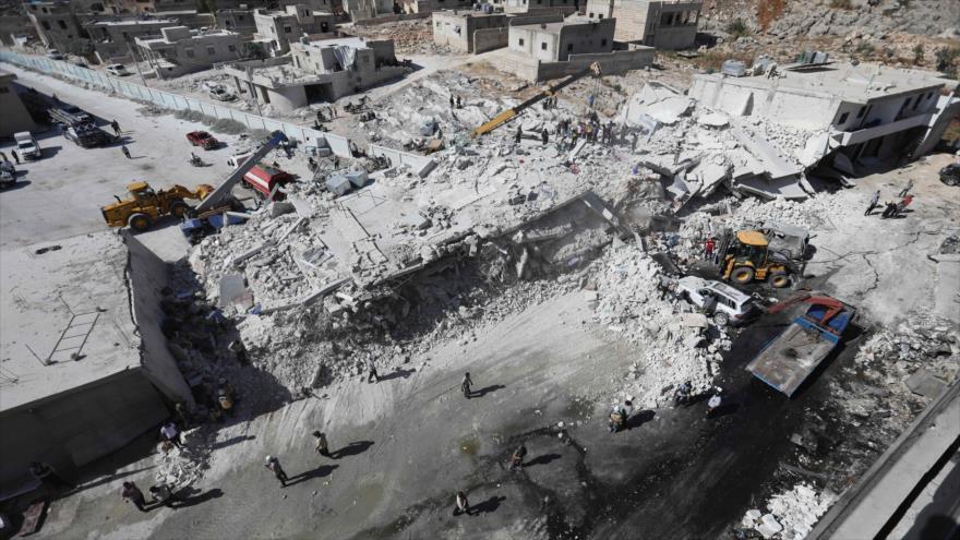 Explosión de arsenal de terroristas en Idlib deja 39 muertos