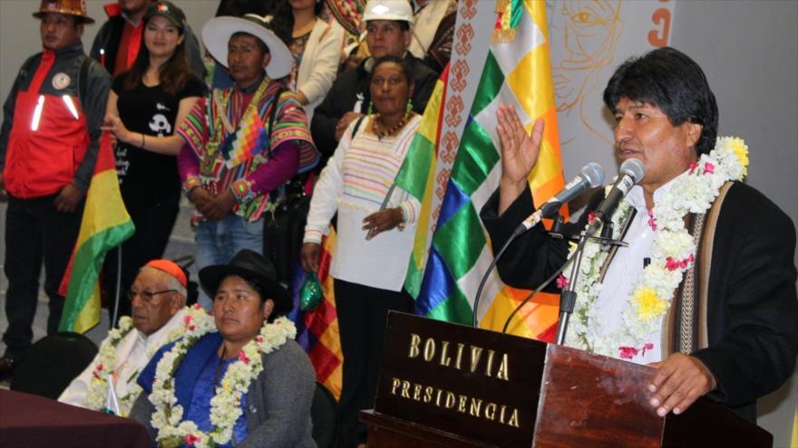 El presidente de Bolivia, Evo Morales, ofrece un discurso en la Casa Grande del Pueblo en La Paz, capital, 9 de agosto de 2018. (Fuente: AFP)