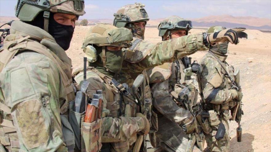 Fuerzas especiales rusas desplegadas en la provincia de Homs, centro de Siria.
