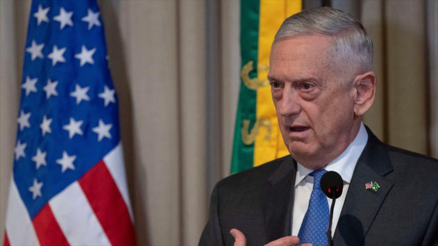 El secretario de Defensa de EEUU, James Mattis, durante un acto en Río de Janeiro, Brasil, 14 de agosto de 2018. (Fuente: AFP)